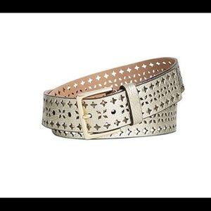 Kate Spade Gold Shrunken perforated Leather Belt